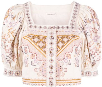 Ulla Johnson Aztec pattern embroidered crop top