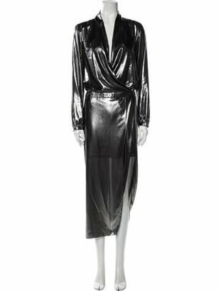 Mason by Michelle Mason Plunge Neckline Long Dress Silver