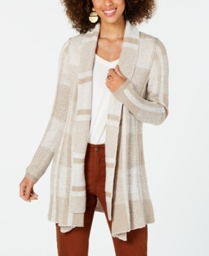 Style&Co. Style & Co Plaid Jacquard Cardigan Sweater, Created for Macy's