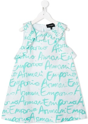 Emporio Armani Kids TEEN logo-print ruffled-neck dress