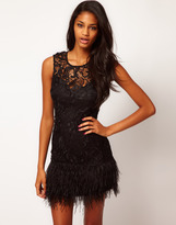 Lipsy VIP Feather Trim Dress