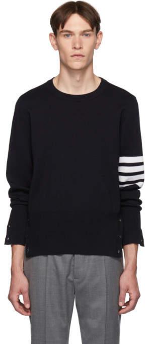 Thom Browne Navy Merino Wool 4-Bar Stripe Sweater