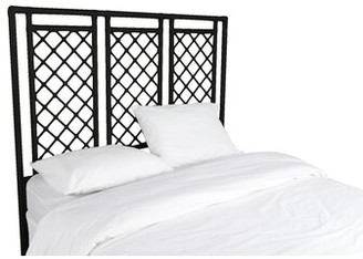 David Francis Furniture X and Diamond Open-Frame Headboard Color: Black, Size: Queen