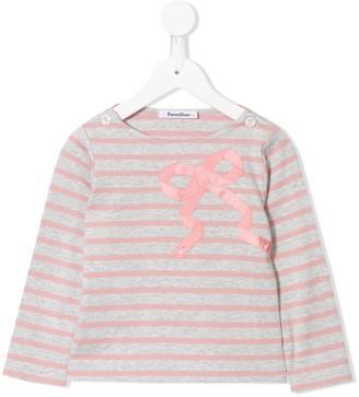 Familiar long sleeve applique bow T-shirt