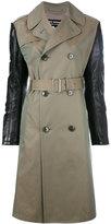 Junya Watanabe Comme Des Garçons - contrast sleeve trench coat - women - Cotton/Polyester/Polyurethane Resin - M