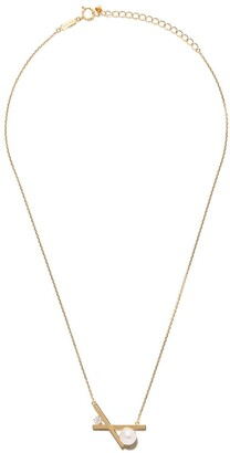 TASAKI 18kt yellow gold Balance cross Akoya pearl and diamond pendant necklace