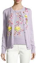 Etro Floral-Embroidered Crewneck Cardigan, Purple