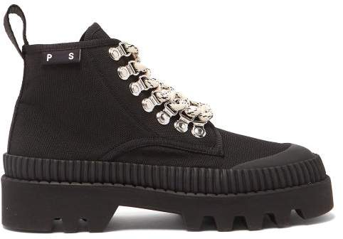 Proenza Schouler Canvas Lace Up Ankle Boots - Womens - Black