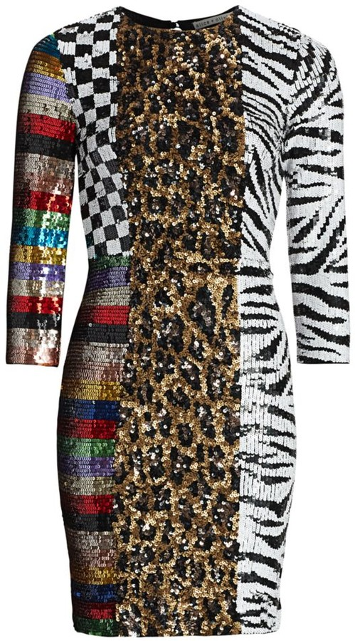 Alice + Olivia Jae Sequin Patchwork Sheath Dress