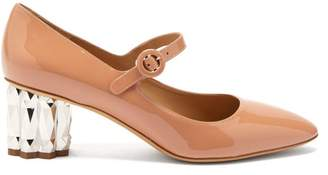 Salvatore Ferragamo Ortensia Faceted Heel Mary Jane Leather Pumps - Womens - Beige
