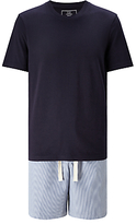 John Lewis Stripe Shorts And T-shirt Pyjama Set, Blue
