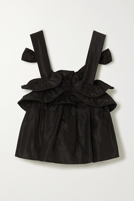 NACKIYÉ Milk Pudding Ruffled Silk-taffeta Top - Anthracite