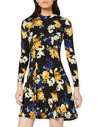 Dorothy Perkins Women's Green Floral Print Jersey Fit & Flare Dress,(Size:)
