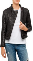 Armani Jeans Floral Embossed Leather Jacket