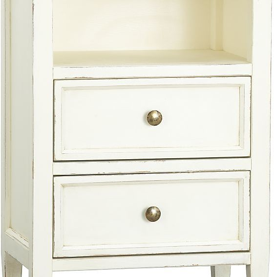 Crate & Barrel Harbor White 2-Drawer Nightstand