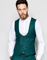 Noose & Monkey Double Breasted Waistcoat With Stretch In Super Skinny Fit