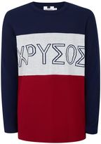 Topman Navy, White and Red Intarsia Print Jumper