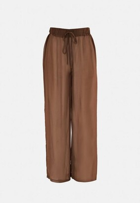 Missguided Brown Chiffon Wide Leg Beach Cover Up Pants