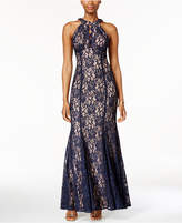 Night Way Nightway Lace Keyhole Halter Gown