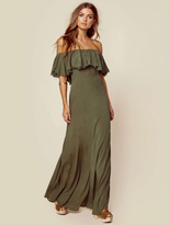 Blue Life Aphrodite Ruffle Maxi Dress in Olive