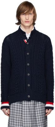 Thom Browne Navy Merino Aran Cable Cardigan