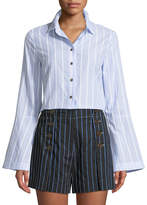 Derek Lam 10 Crosby Bell-Sleeve Striped Button-Down Shirt