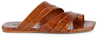 Mercedes Castillo Valentina Croc-Embossed Leather Slides