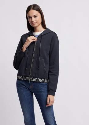 Emporio Armani Hooded Sweatshirt With Logoed Band On The Hem