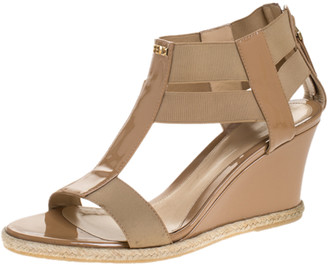 Fendi Beige Patent Leather T-Strap Espadrille Wedge Sandals Size 37.5