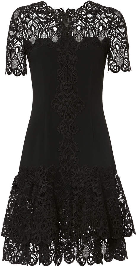 Jonathan Simkhai Lace Applique Crepe Black Mini Dress