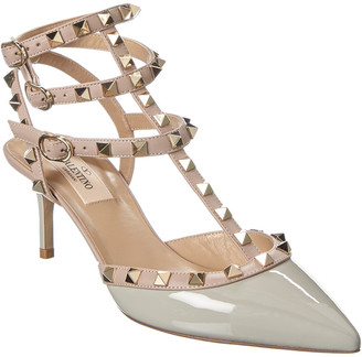 Valentino Rockstud Caged 65 Leather Ankle Strap Pump