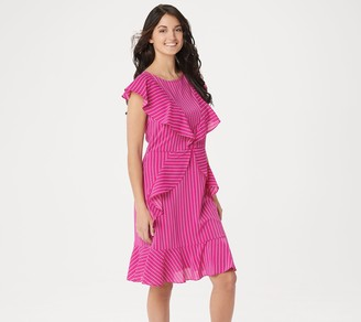 Du Jour Scoop-Neck Striped Dress with Ruffle Detail