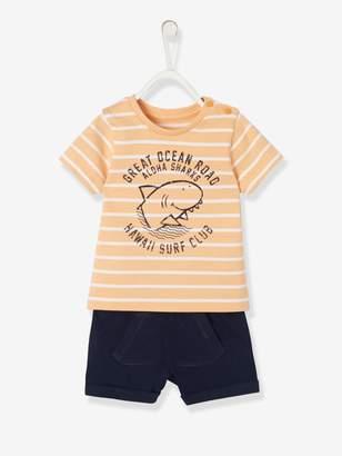 Vertbaudet Baby Boys' Striped Top & Shorts Outfit, Shark Motif