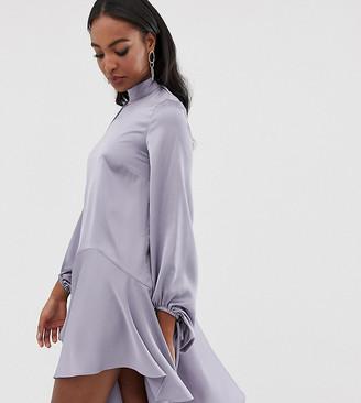 Asos Tall DESIGN Tall scarf neck satin mini dress-Grey