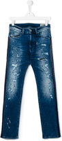 Diesel distressed straight leg jeans - kids - Cotton/Polyester/Spandex/Elastane - 14 yrs