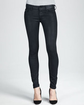 Mother The Looker Black Glimmer Skinny Jeans