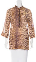 Moschino Leopard Print Button-Up Blouse