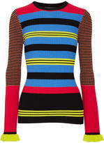 Opening Ceremony Striped Ribbed-knit Sweater - Azure