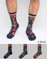 Asos Socks With Floral Design and Stripe Rib 3 Pack