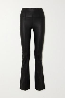 REMAIN Birger Christensen Floral Leather Flared Pants - Black