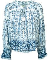 Sea printed peasant blouse