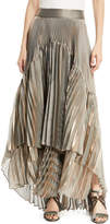 Brunello Cucinelli Metallic Pleated Iridescent Tiered Maxi Skirt