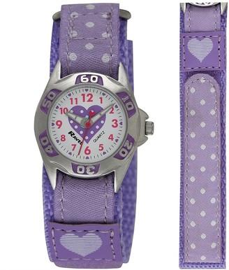 Ravel Girl's Lilac Polka Dot Patterned Easy Fasten Strap Watch