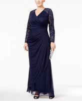 Alex Evenings Plus Size Lace-Sleeve Surplice Gown