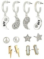 BCBGeneration BFF Set of 6 Stud Earrings Gift (12K Gold/Silver/Crystal) Earring