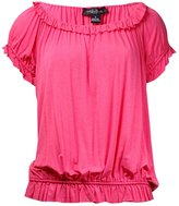 August Silk Womens Jersey Banded Bottom Peasant Top Pink M