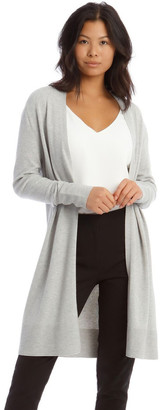 Basque Long Line Cardi Ribbed Detail Silv