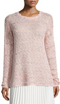 Neiman Marcus Foil-Print Sweater, Dusty Rose