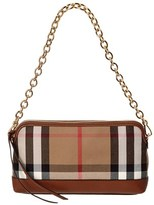 Burberry Abingdon House Check & Leather Clutch Bag.