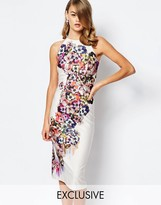 True Violet Halter Midi Pencil with Floral and Cut Outs at Back